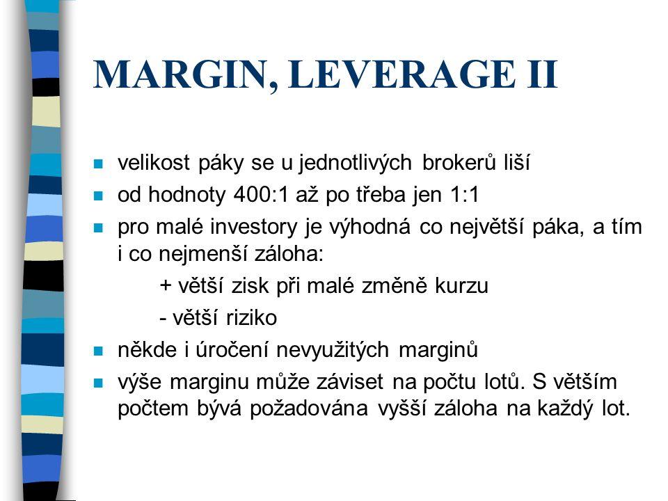 MARGIN, LEVERAGE II velikost páky se u jednotlivých brokerů liší
