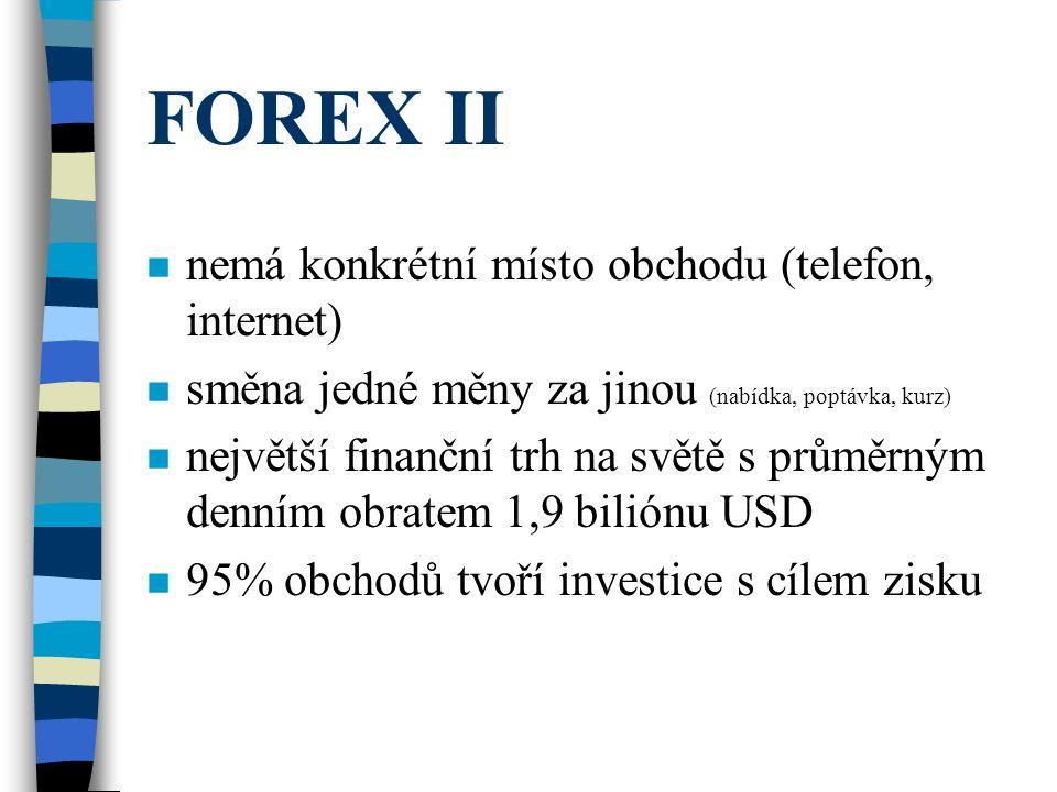 FOREX II nemá konkrétní místo obchodu (telefon, internet)