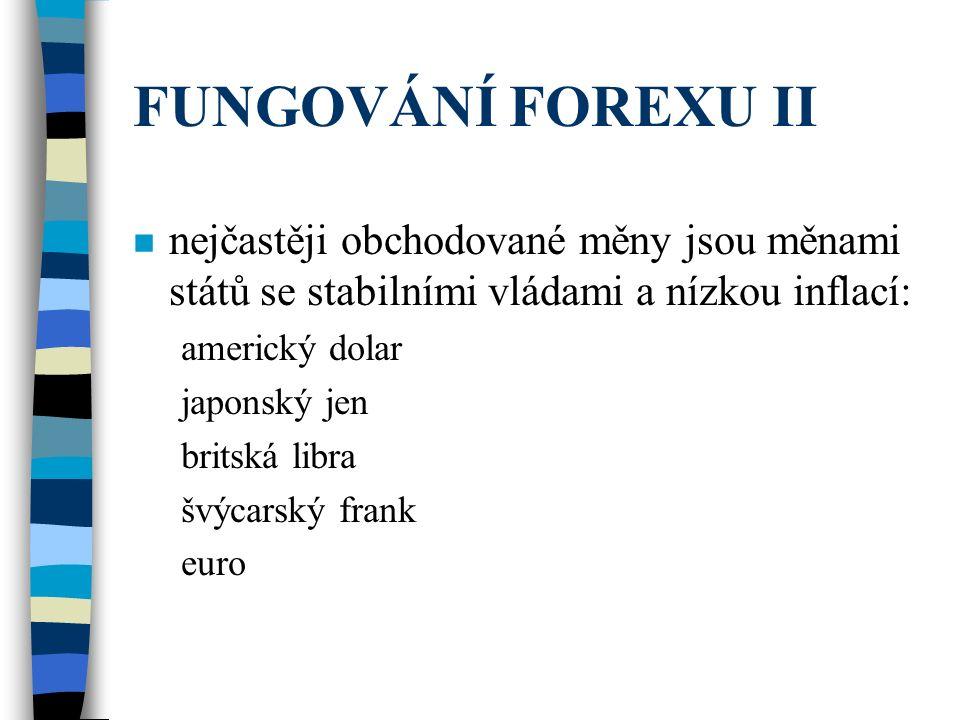FUNGOVÁNÍ FOREXU II nejčastěji obchodované měny jsou měnami států se stabilními vládami a nízkou inflací: