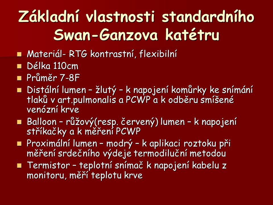 Základní vlastnosti standardního Swan-Ganzova katétru