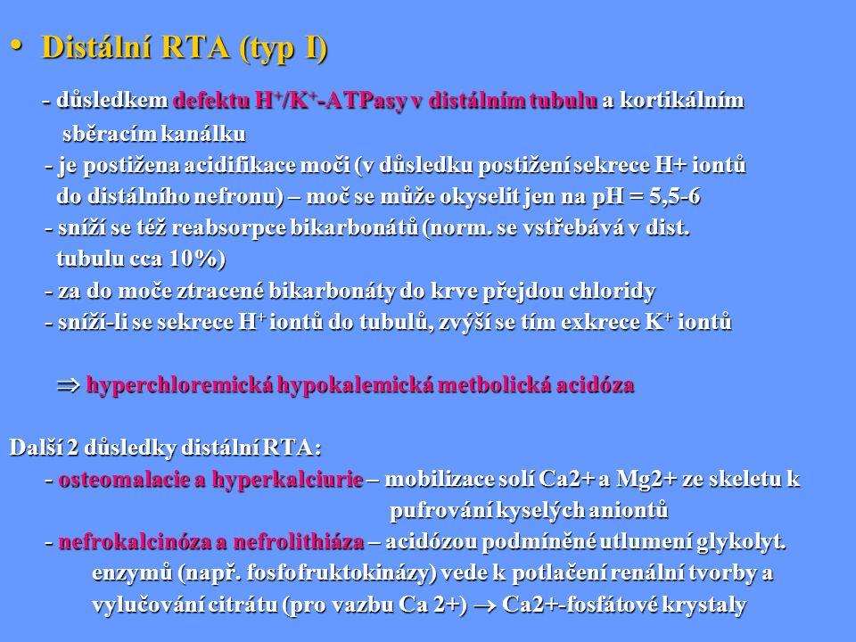 - důsledkem defektu H+/K+-ATPasy v distálním tubulu a kortikálním
