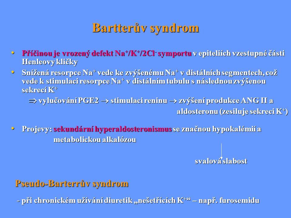Bartterův syndrom Příčinou je vrozený defekt Na+/K+/2Cl- symportu v epiteliích vzestupné části Henleovy kličky.