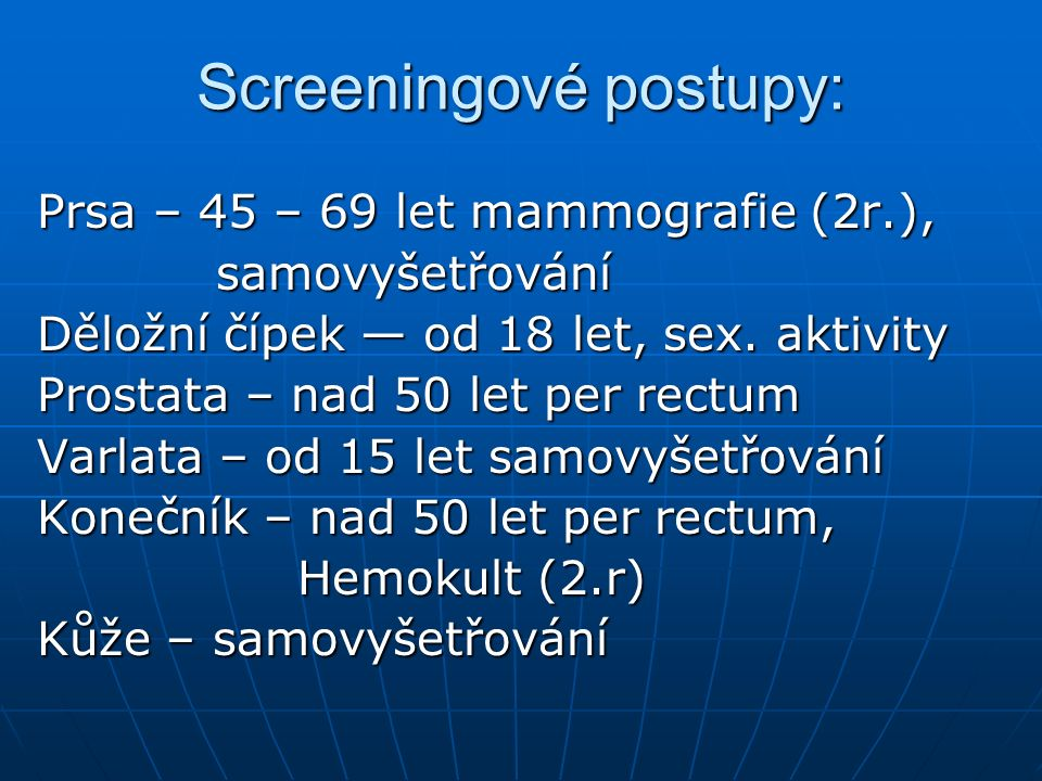 Screeningové postupy: