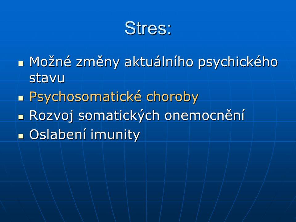 Stres: Možné změny aktuálního psychického stavu