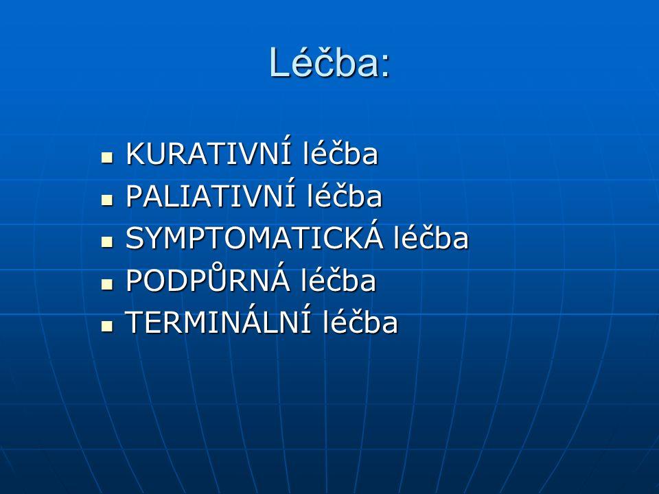 Léčba: KURATIVNÍ léčba PALIATIVNÍ léčba SYMPTOMATICKÁ léčba