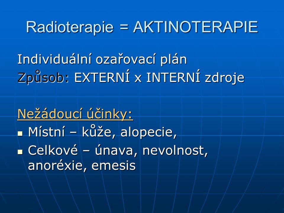 Radioterapie = AKTINOTERAPIE
