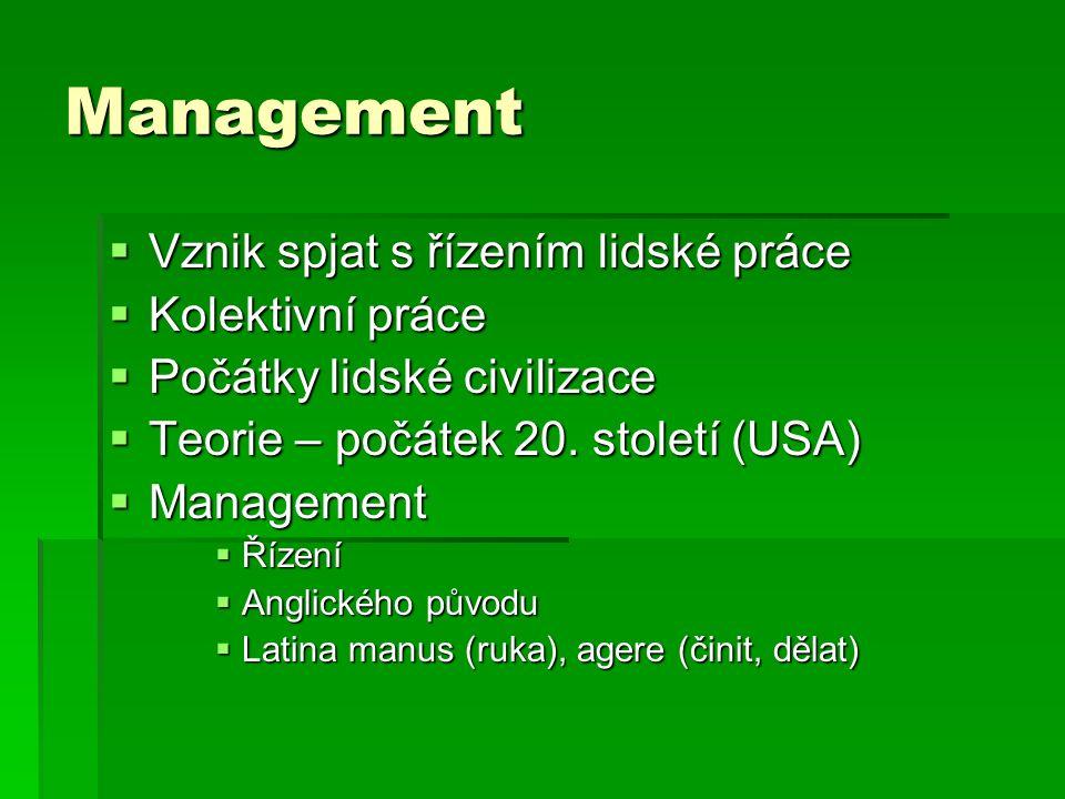 Management Vznik spjat s řízením lidské práce Kolektivní práce