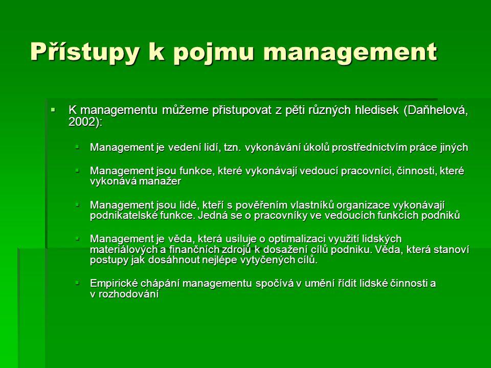 Přístupy k pojmu management