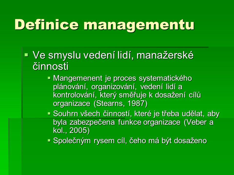 Definice managementu Ve smyslu vedení lidí, manažerské činnosti