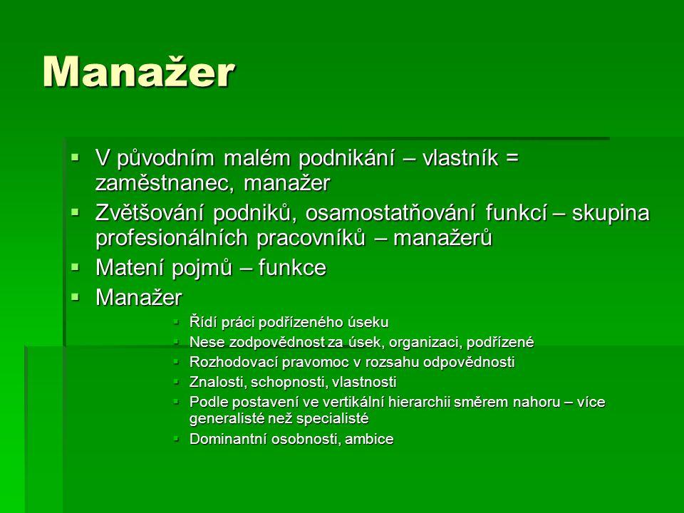 Manažer V původním malém podnikání – vlastník = zaměstnanec, manažer