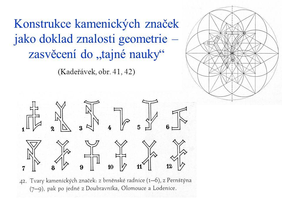 """Konstrukce kamenických značek jako doklad znalosti geometrie – zasvěcení do """"tajné nauky (Kadeřávek, obr."""