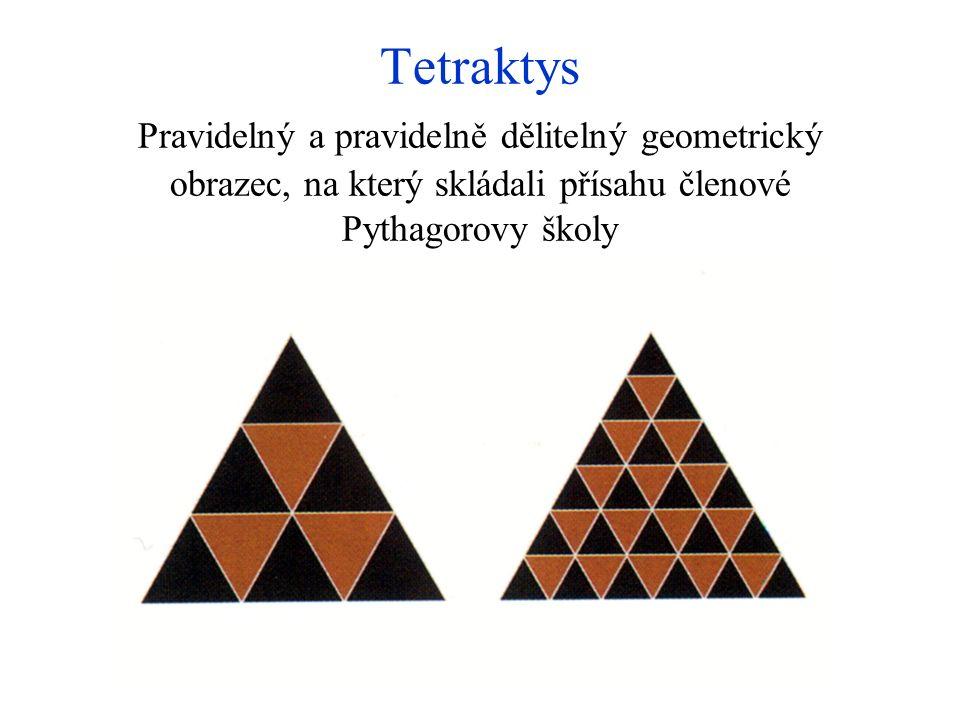 Tetraktys Pravidelný a pravidelně dělitelný geometrický obrazec, na který skládali přísahu členové Pythagorovy školy