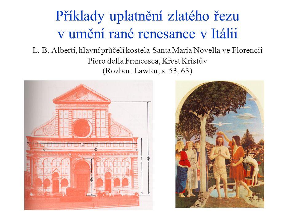Příklady uplatnění zlatého řezu v umění rané renesance v Itálii L. B