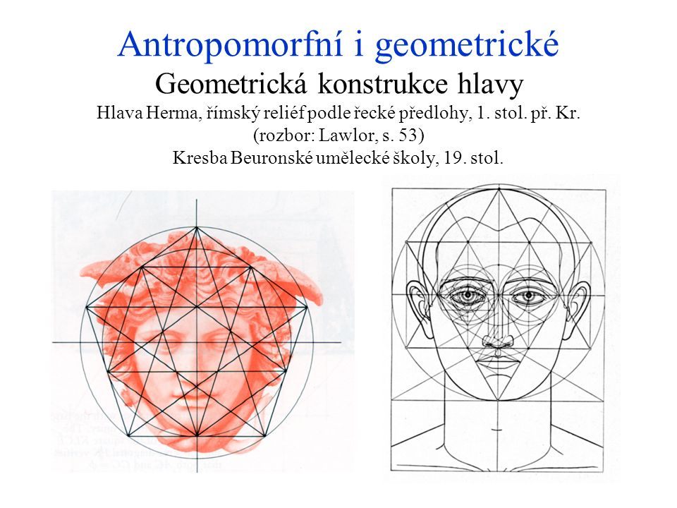 Antropomorfní i geometrické Geometrická konstrukce hlavy Hlava Herma, římský reliéf podle řecké předlohy, 1.