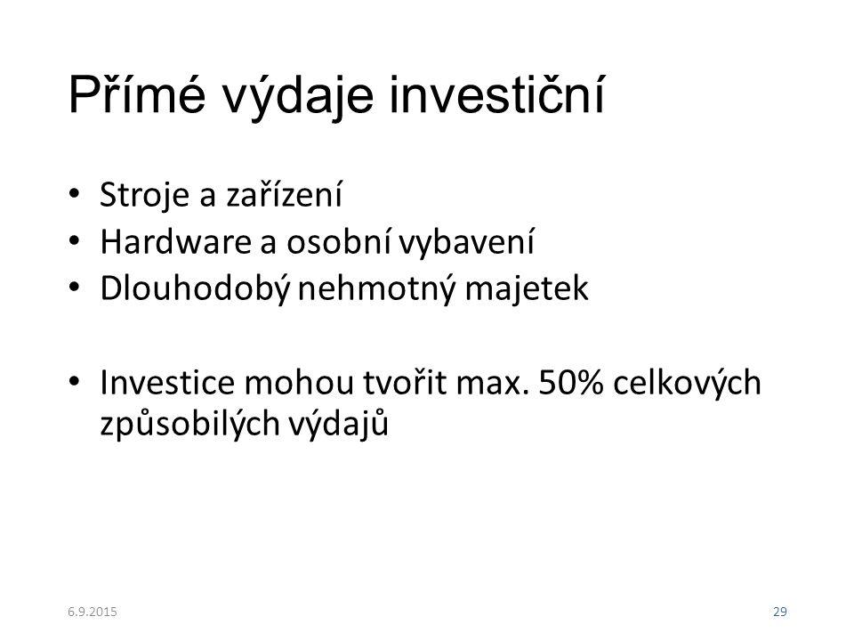 Přímé výdaje investiční