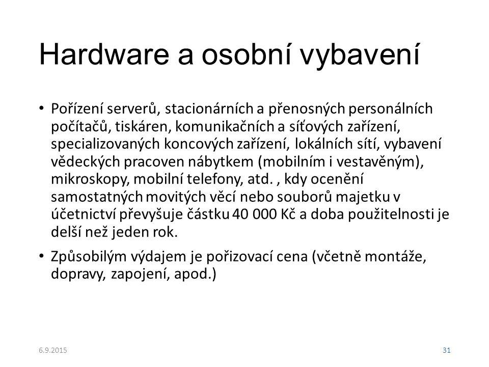 Hardware a osobní vybavení