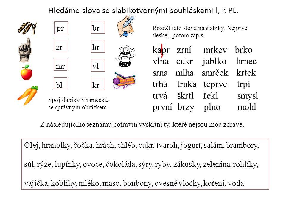 Hledáme slova se slabikotvornými souhláskami l, r. PL.