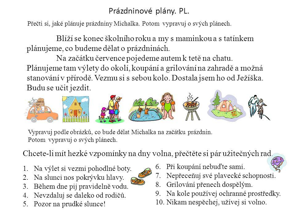 Prázdninové plány. PL. Přečti si, jaké plánuje prázdniny Michalka. Potom vypravuj o svých plánech.