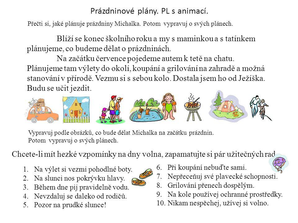Prázdninové plány. PL s animací.