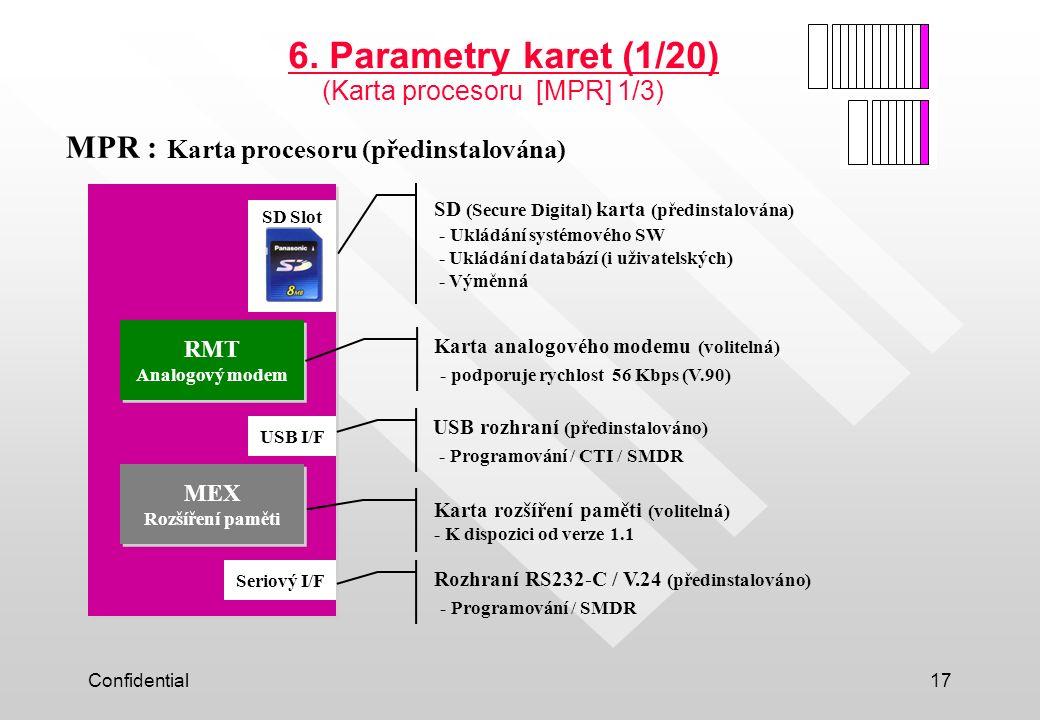 6. Parametry karet (1/20) MPR : Karta procesoru (předinstalována)