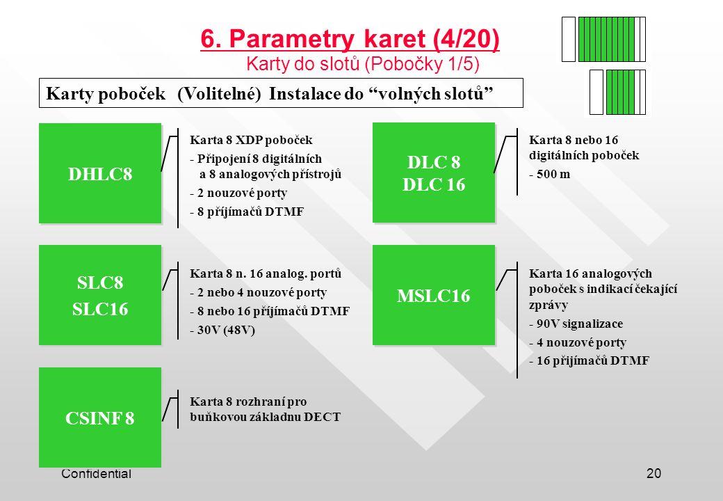 6. Parametry karet (4/20) Karty do slotů (Pobočky 1/5)