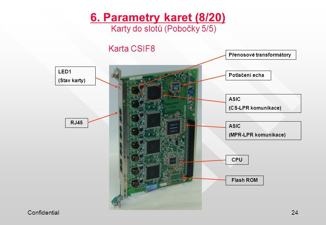 6. Parametry karet (8/20) Karty do slotů (Pobočky 5/5) Karta CSIF8