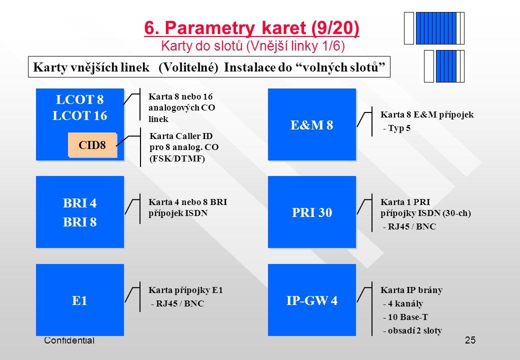 6. Parametry karet (9/20) Karty do slotů (Vnější linky 1/6)