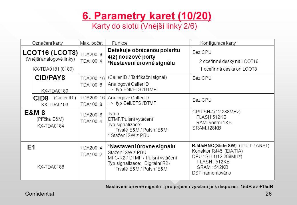 6. Parametry karet (10/20) Karty do slotů (Vnější linky 2/6)