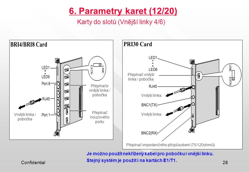 6. Parametry karet (12/20) Karty do slotů (Vnější linky 4/6)