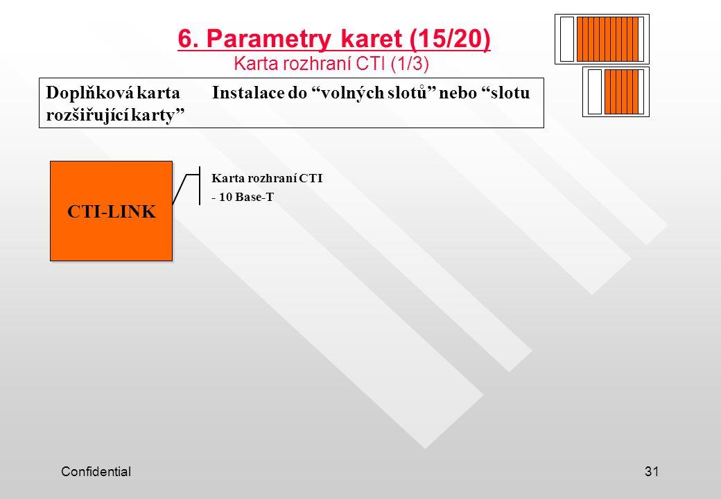 6. Parametry karet (15/20) Karta rozhraní CTI (1/3)