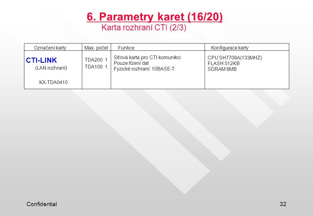 6. Parametry karet (16/20) Karta rozhraní CTI (2/3) CTI-LINK