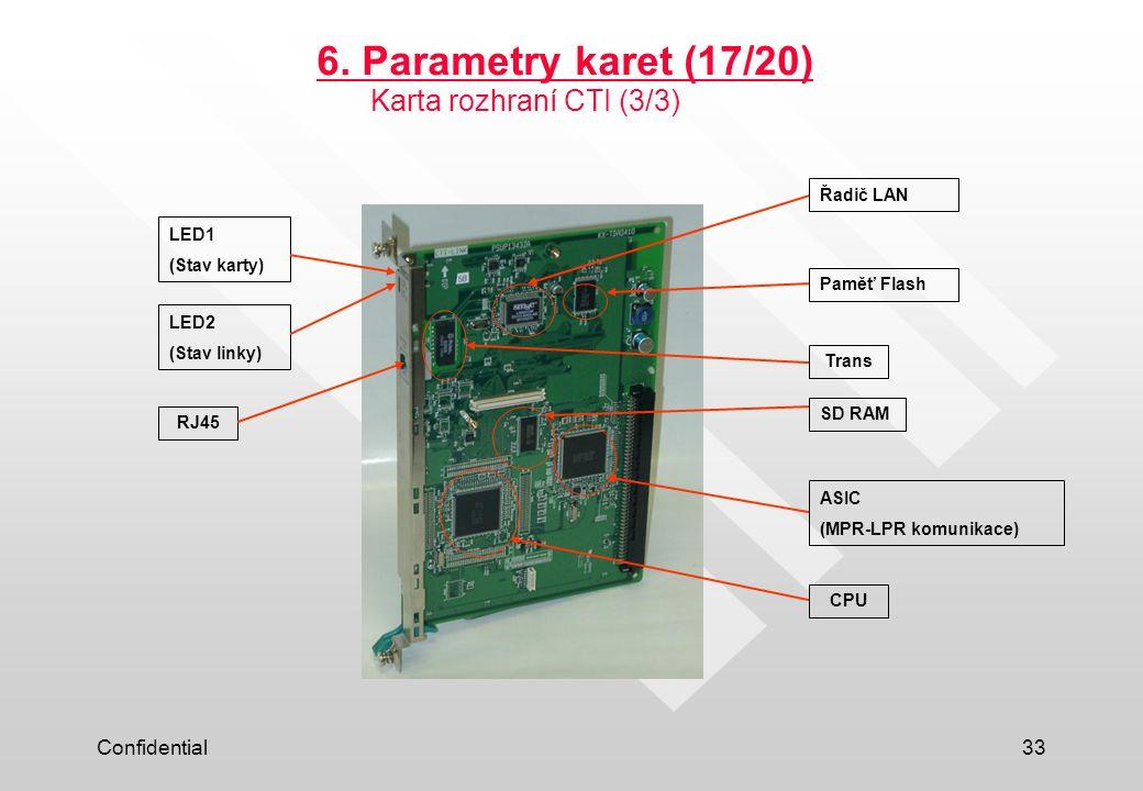 6. Parametry karet (17/20) Karta rozhraní CTI (3/3) Confidential