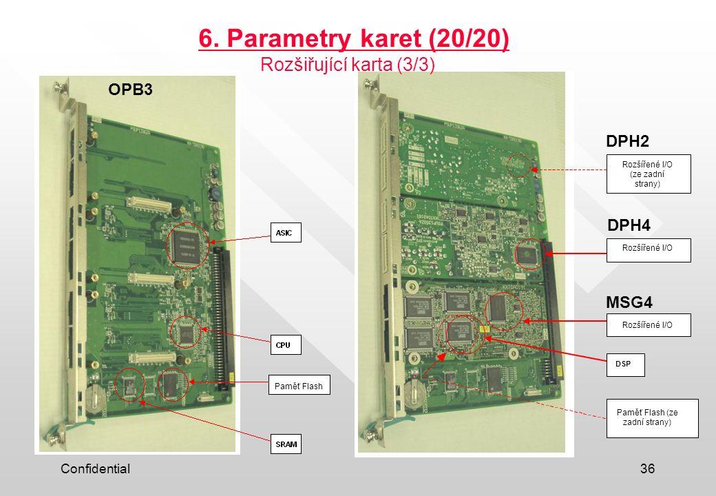 6. Parametry karet (20/20) Rozšiřující karta (3/3) OPB3 DPH2 DPH4 MSG4