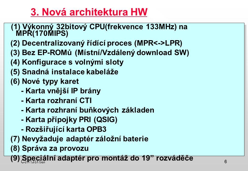 3. Nová architektura HW (1) Výkonný 32bitový CPU(frekvence 133MHz) na MPR(170MIPS) (2) Decentralizovaný řídící proces (MPR<->LPR)