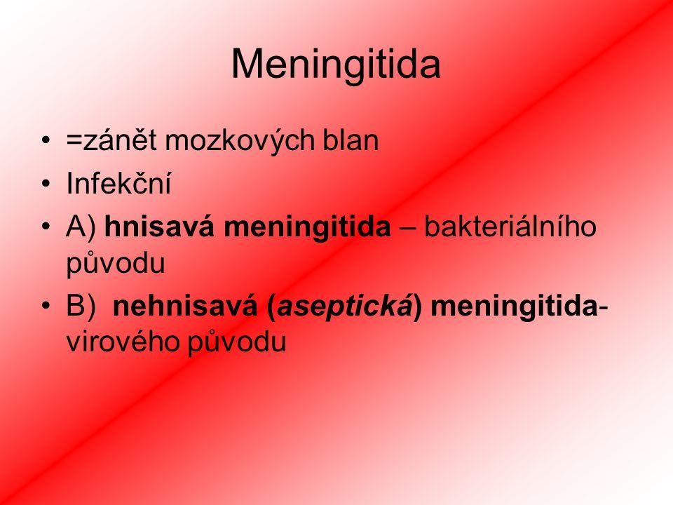 Meningitida =zánět mozkových blan Infekční