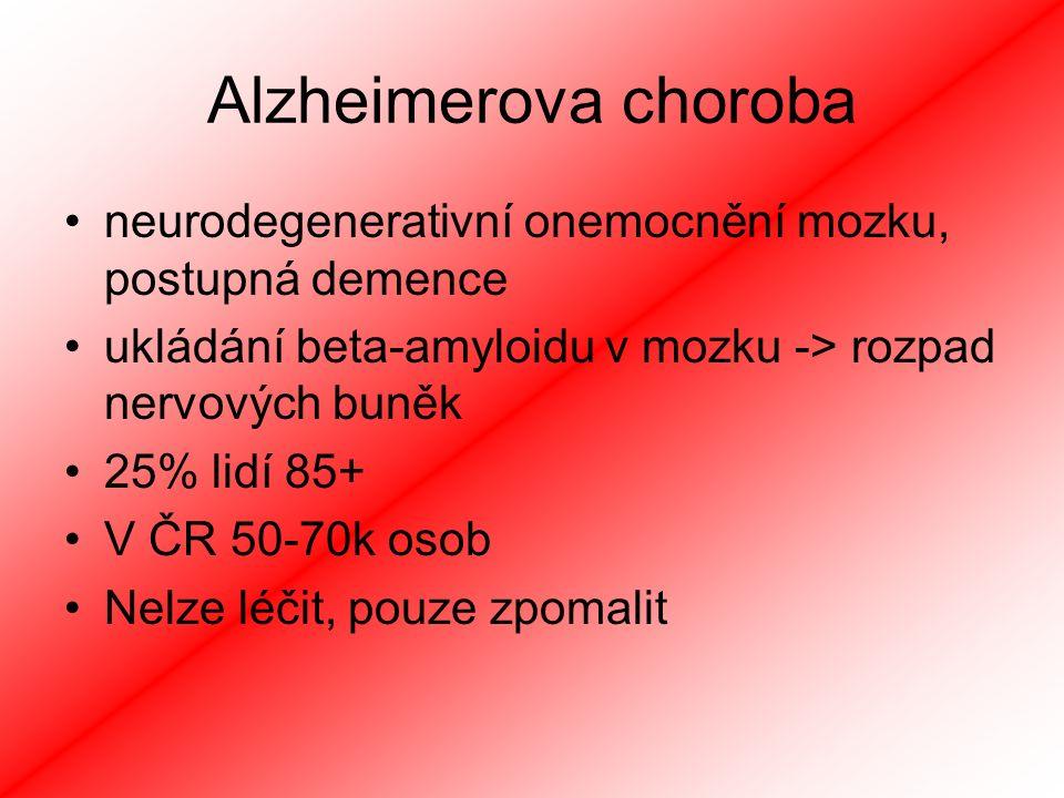 Alzheimerova choroba neurodegenerativní onemocnění mozku, postupná demence. ukládání beta-amyloidu v mozku -> rozpad nervových buněk.