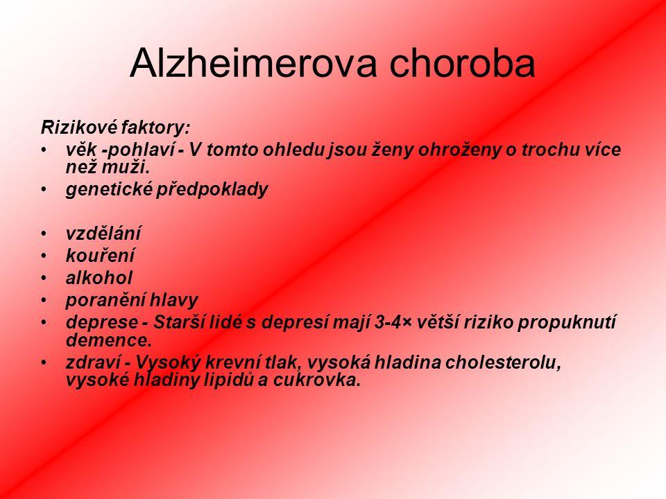 Alzheimerova choroba Rizikové faktory: