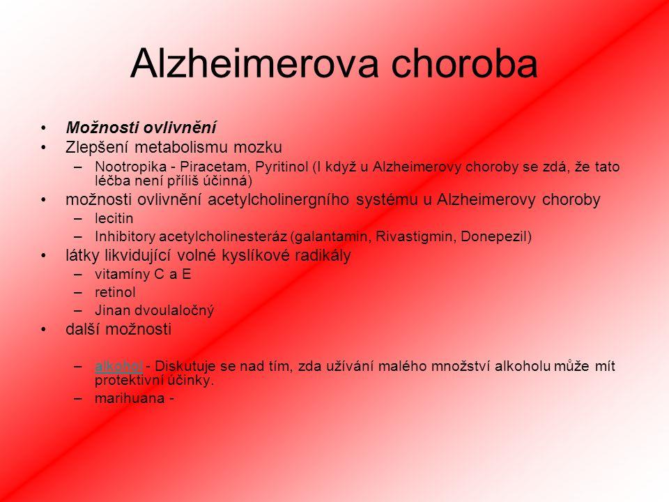 Alzheimerova choroba Možnosti ovlivnění Zlepšení metabolismu mozku