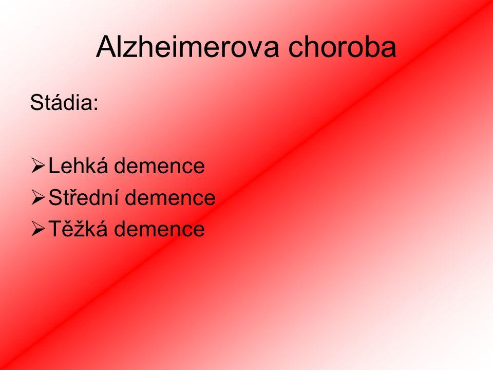 Alzheimerova choroba Stádia: Lehká demence Střední demence