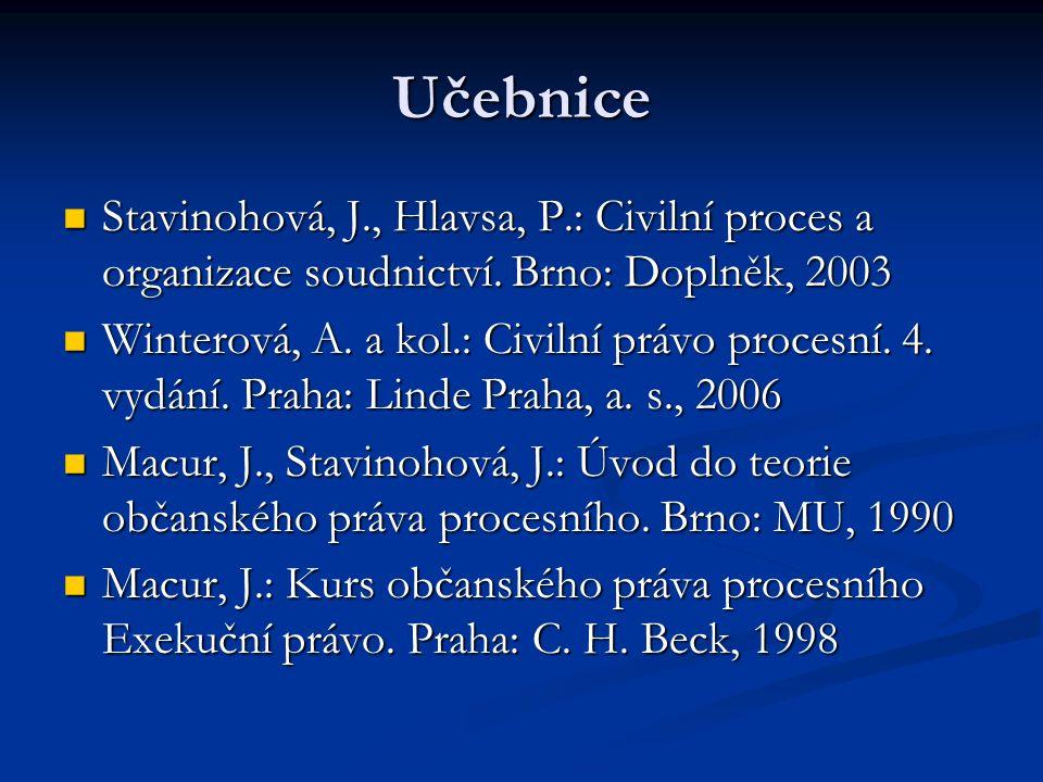 Učebnice Stavinohová, J., Hlavsa, P.: Civilní proces a organizace soudnictví. Brno: Doplněk, 2003.