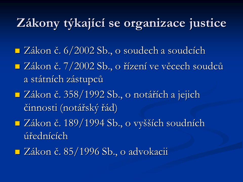 Zákony týkající se organizace justice