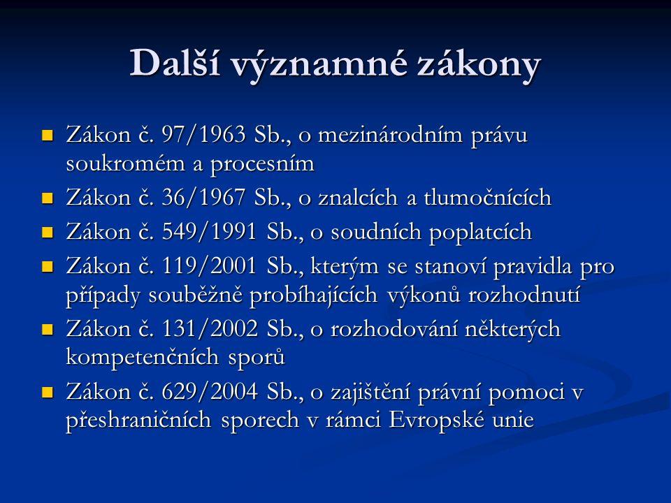 Další významné zákony Zákon č. 97/1963 Sb., o mezinárodním právu soukromém a procesním. Zákon č. 36/1967 Sb., o znalcích a tlumočnících.
