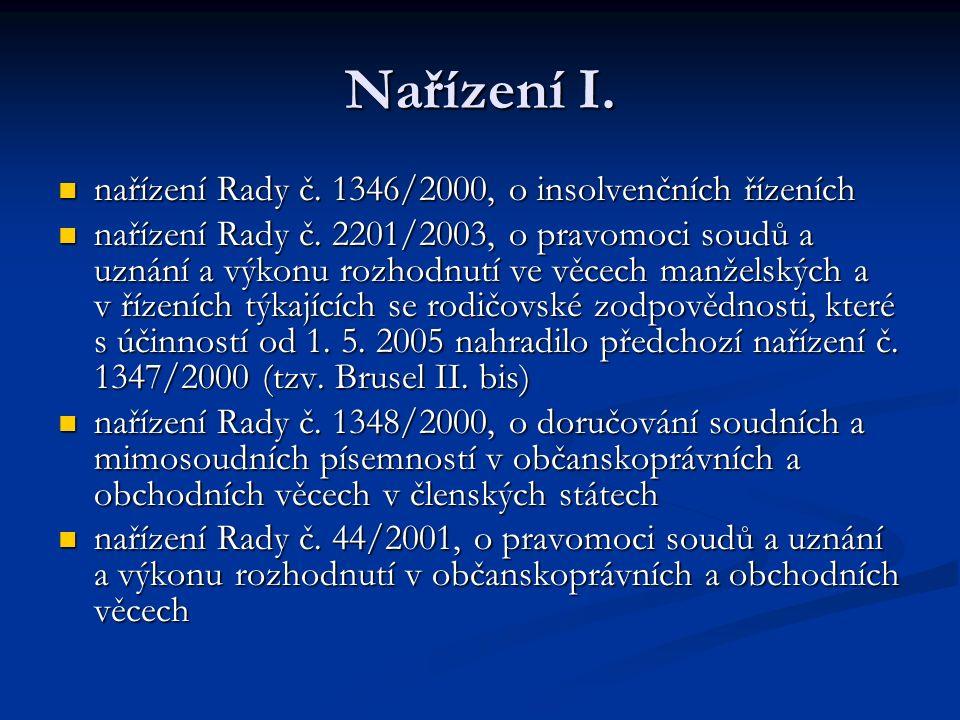 Nařízení I. nařízení Rady č. 1346/2000, o insolvenčních řízeních