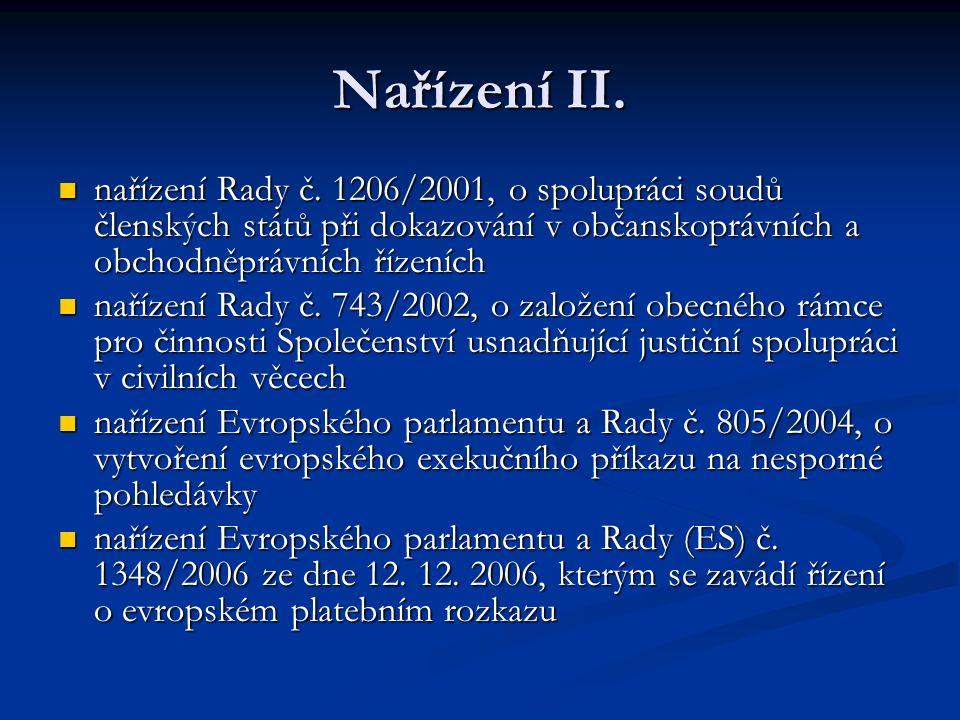 Nařízení II. nařízení Rady č. 1206/2001, o spolupráci soudů členských států při dokazování v občanskoprávních a obchodněprávních řízeních.