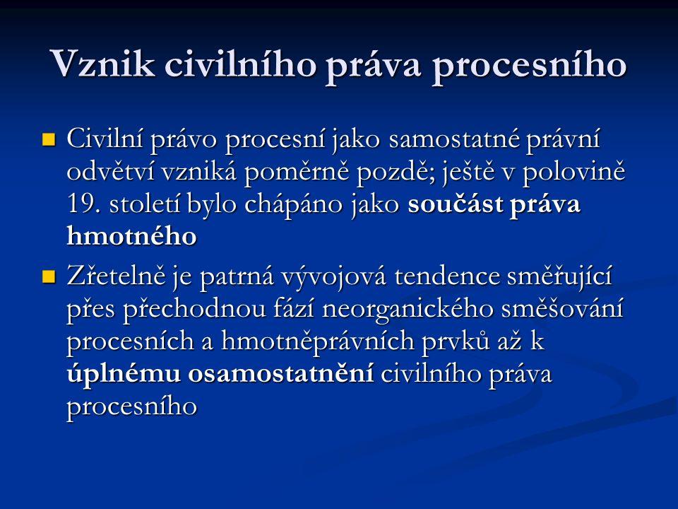 Vznik civilního práva procesního
