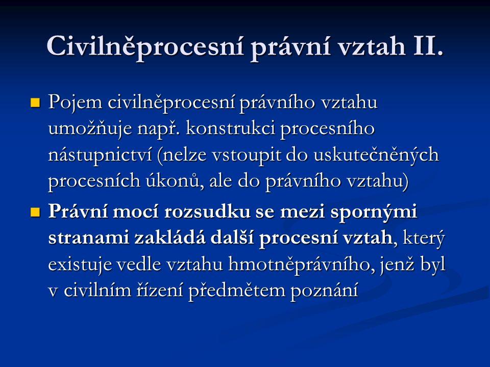 Civilněprocesní právní vztah II.