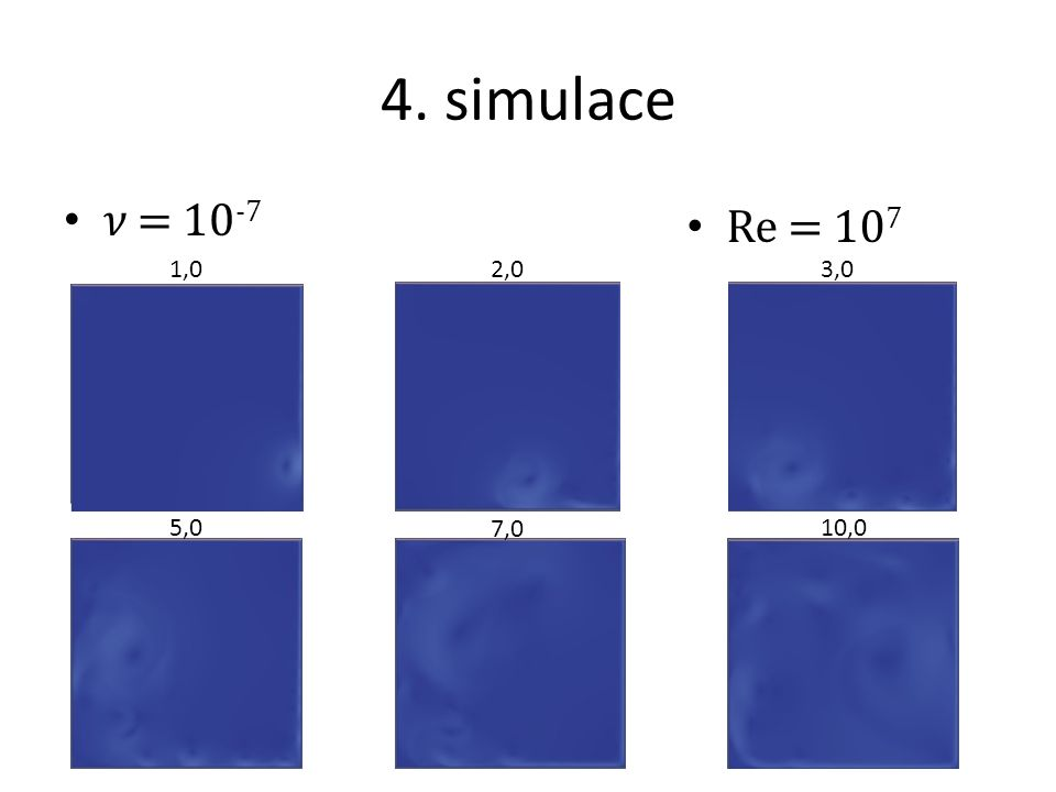 4. simulace 𝜈 = 10-7 Re = 107 1,0 2,0 3,0 5,0 7,0 10,0