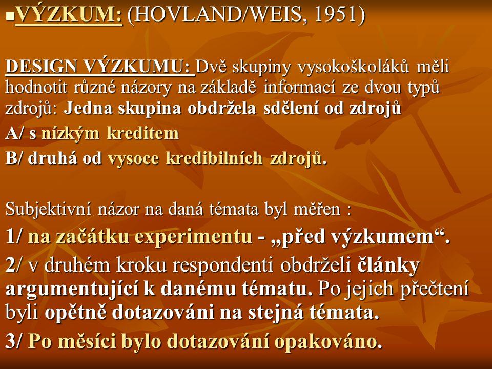 VÝZKUM: (HOVLAND/WEIS, 1951)