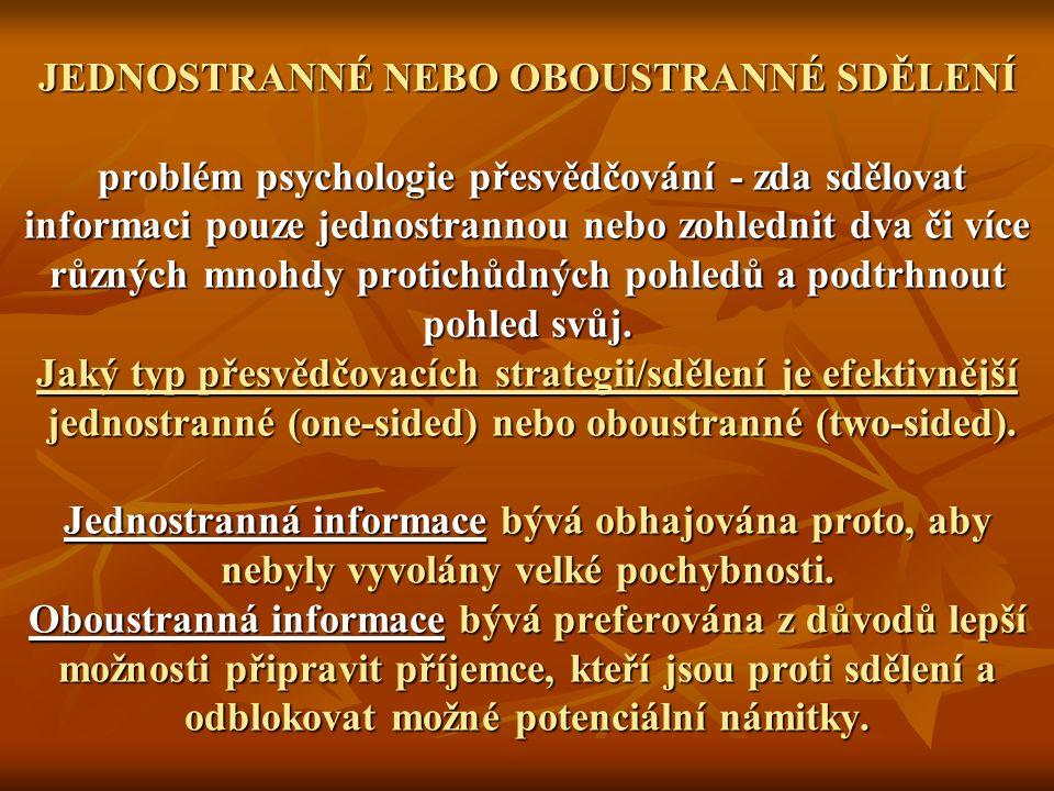 JEDNOSTRANNÉ NEBO OBOUSTRANNÉ SDĚLENÍ problém psychologie přesvědčování - zda sdělovat informaci pouze jednostrannou nebo zohlednit dva či více různých mnohdy protichůdných pohledů a podtrhnout pohled svůj.