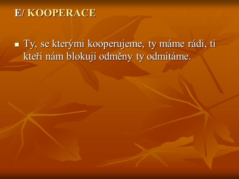 E/ KOOPERACE Ty, se kterými kooperujeme, ty máme rádi, ti kteří nám blokují odměny ty odmítáme.